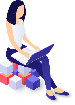 Frau sitzend mit Laptop